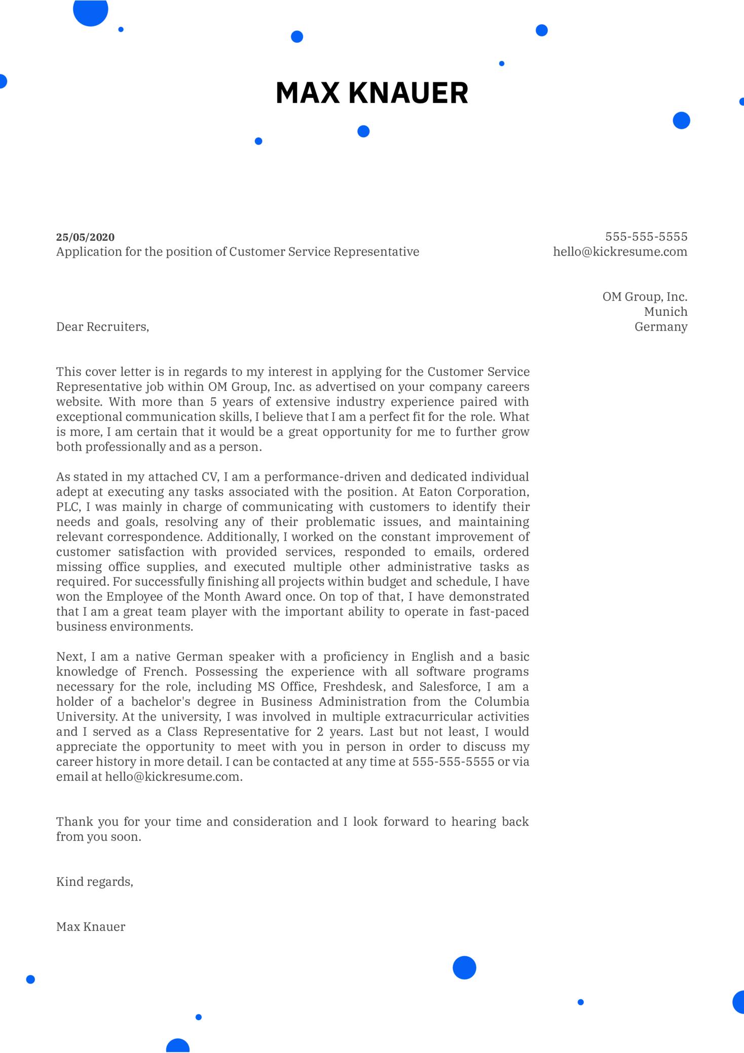 Customer Service Representative Cover Letter Template