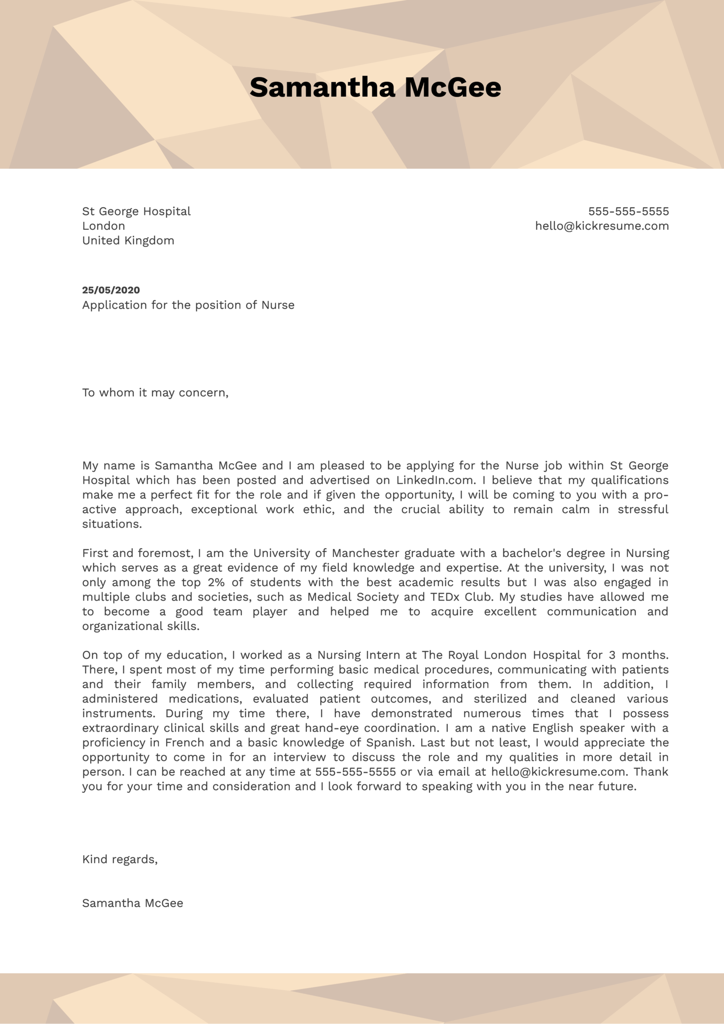 New Grad Nurse Cover Letter Sample
