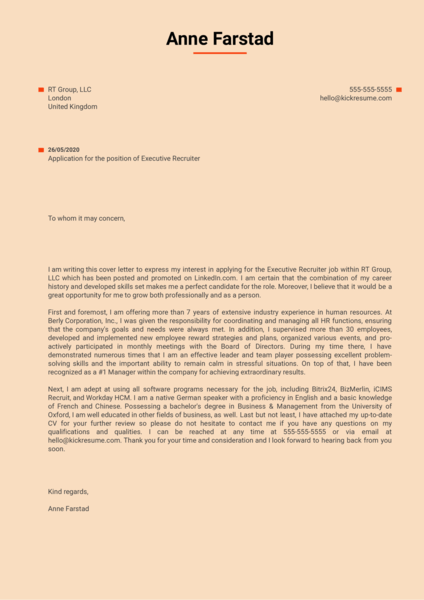 Executive Recruiter Cover Letter Sample
