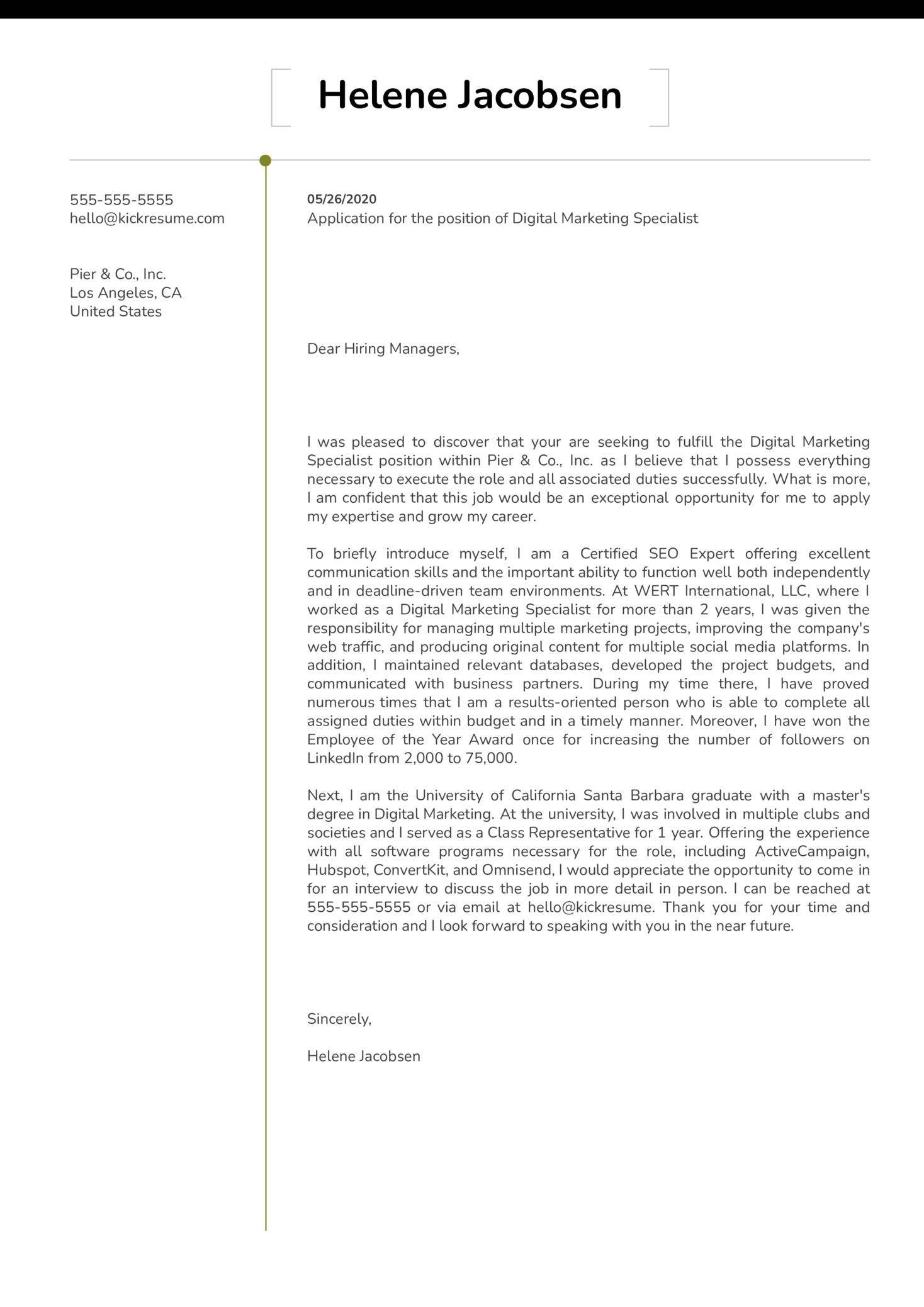 Professional Cover Letter Example