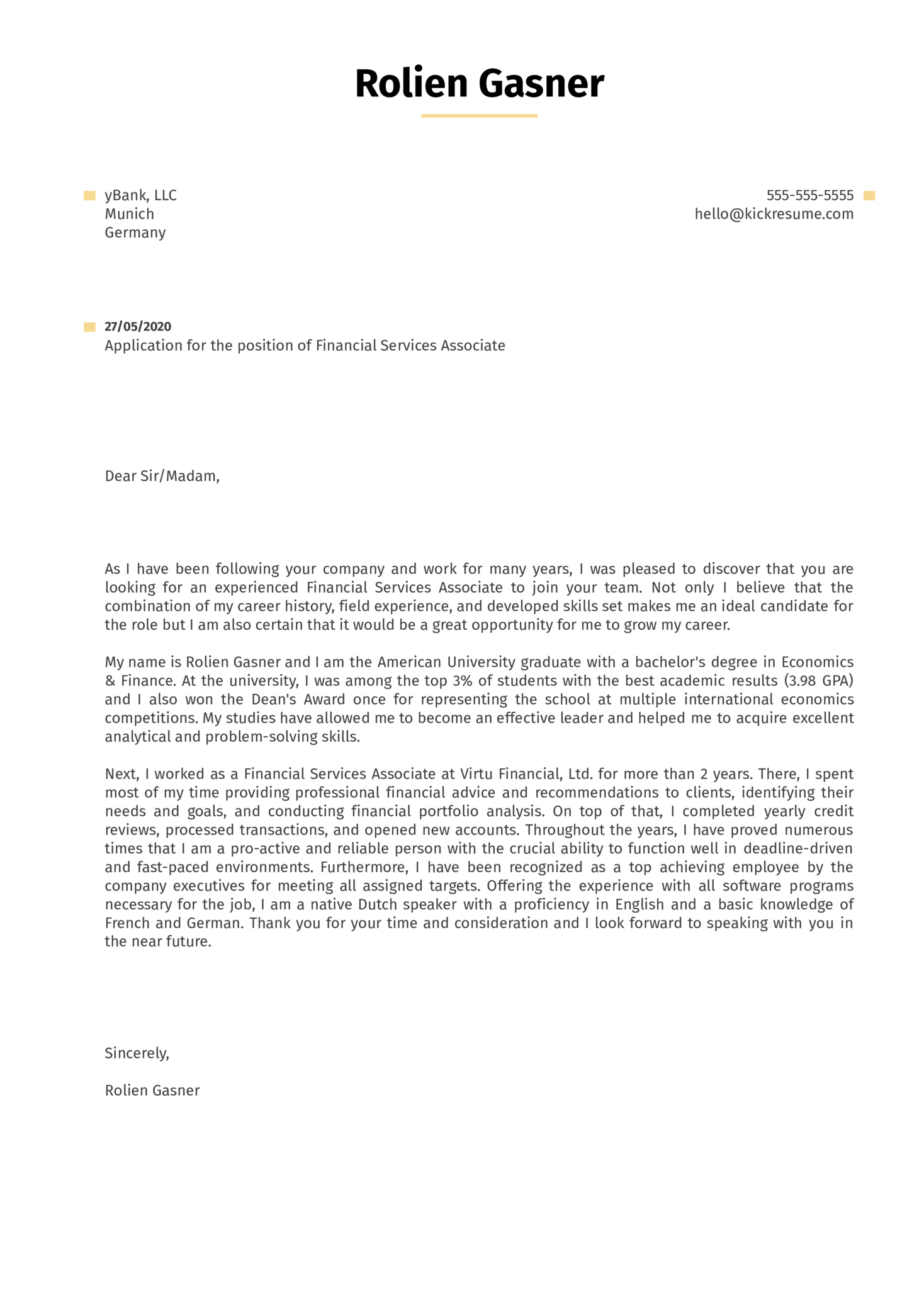 Financial Services Associate Cover Letter Sample