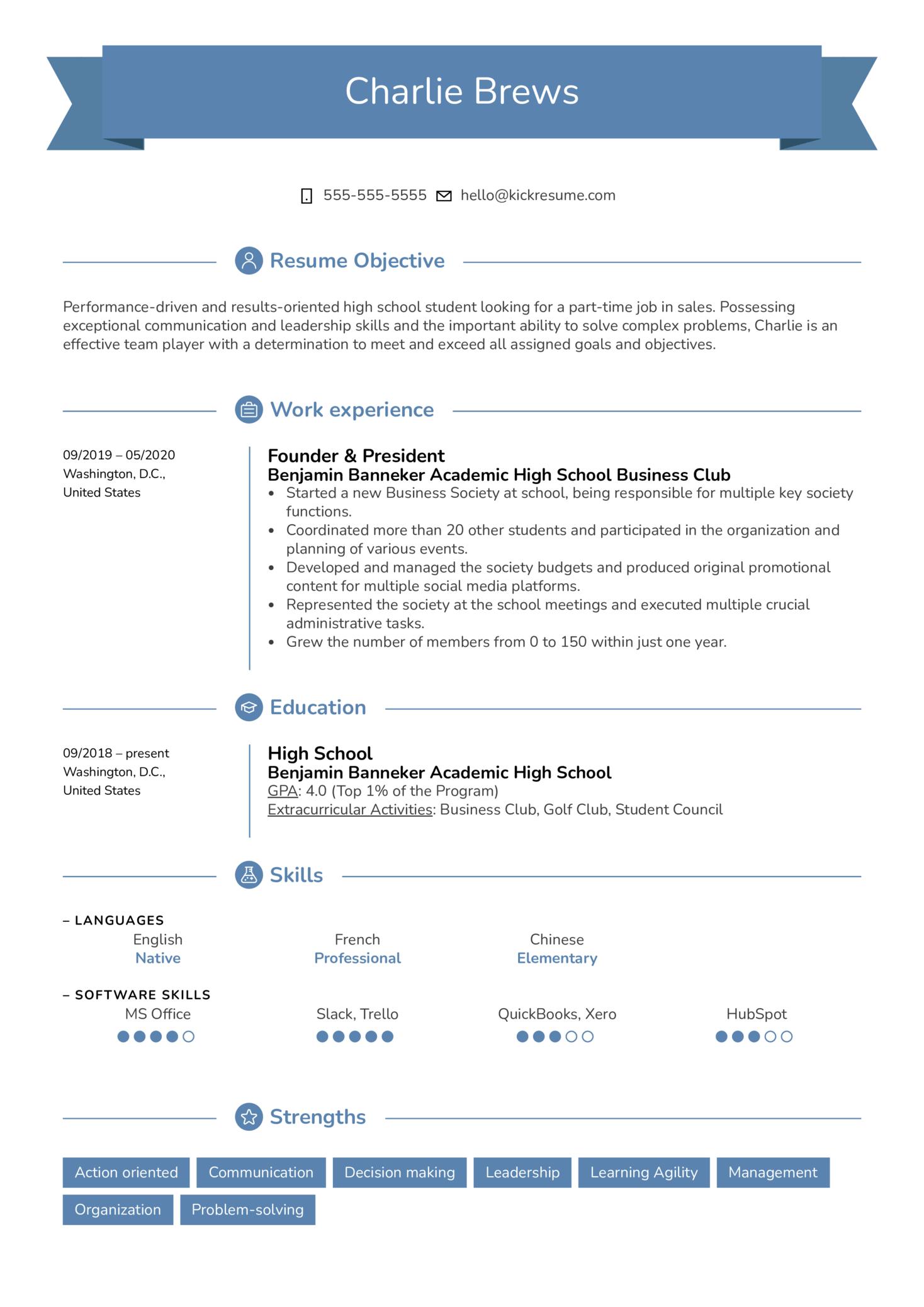 Part-Time Job Resume Sample (Part 1)