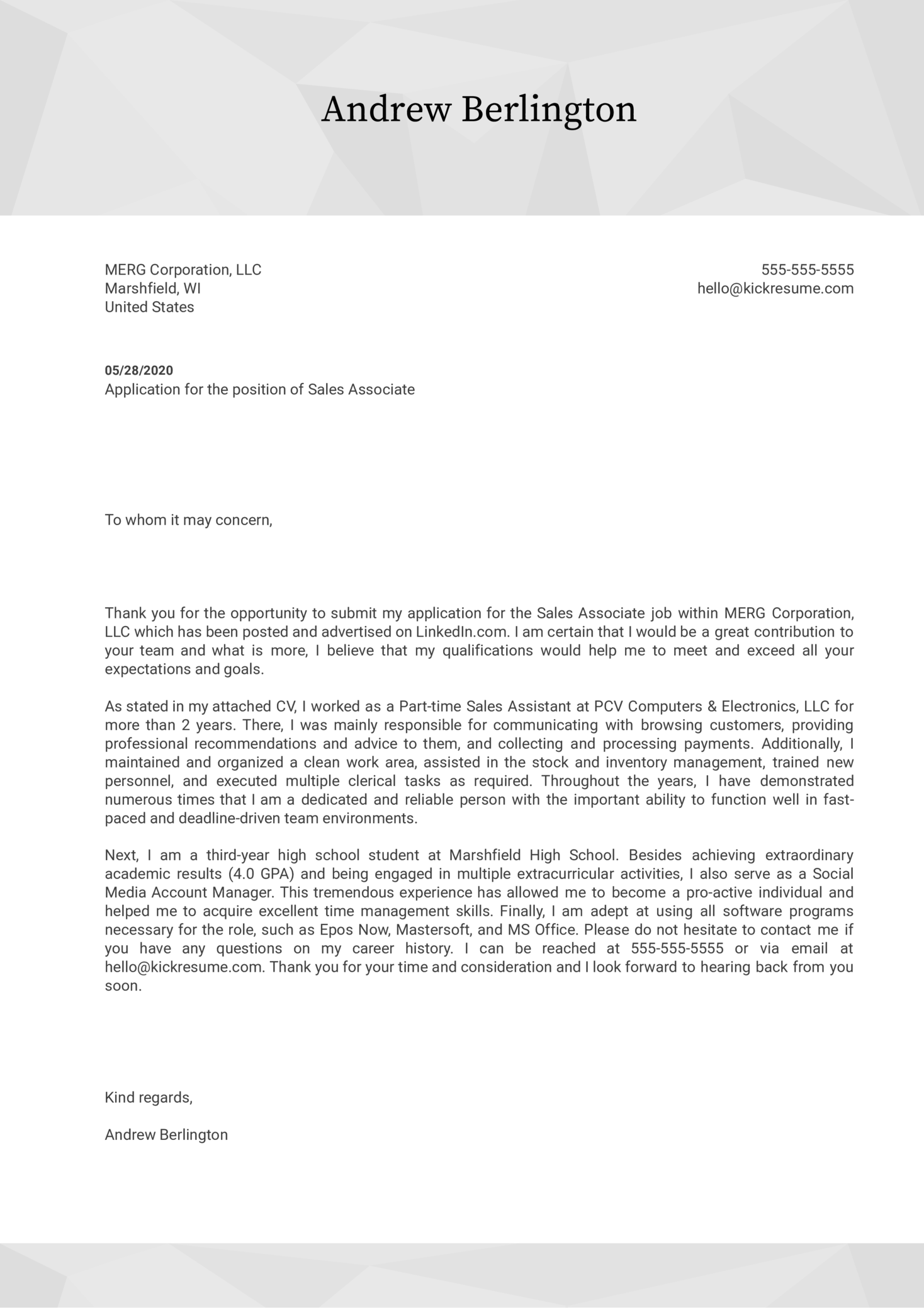 Cover Letter for Teenager Template