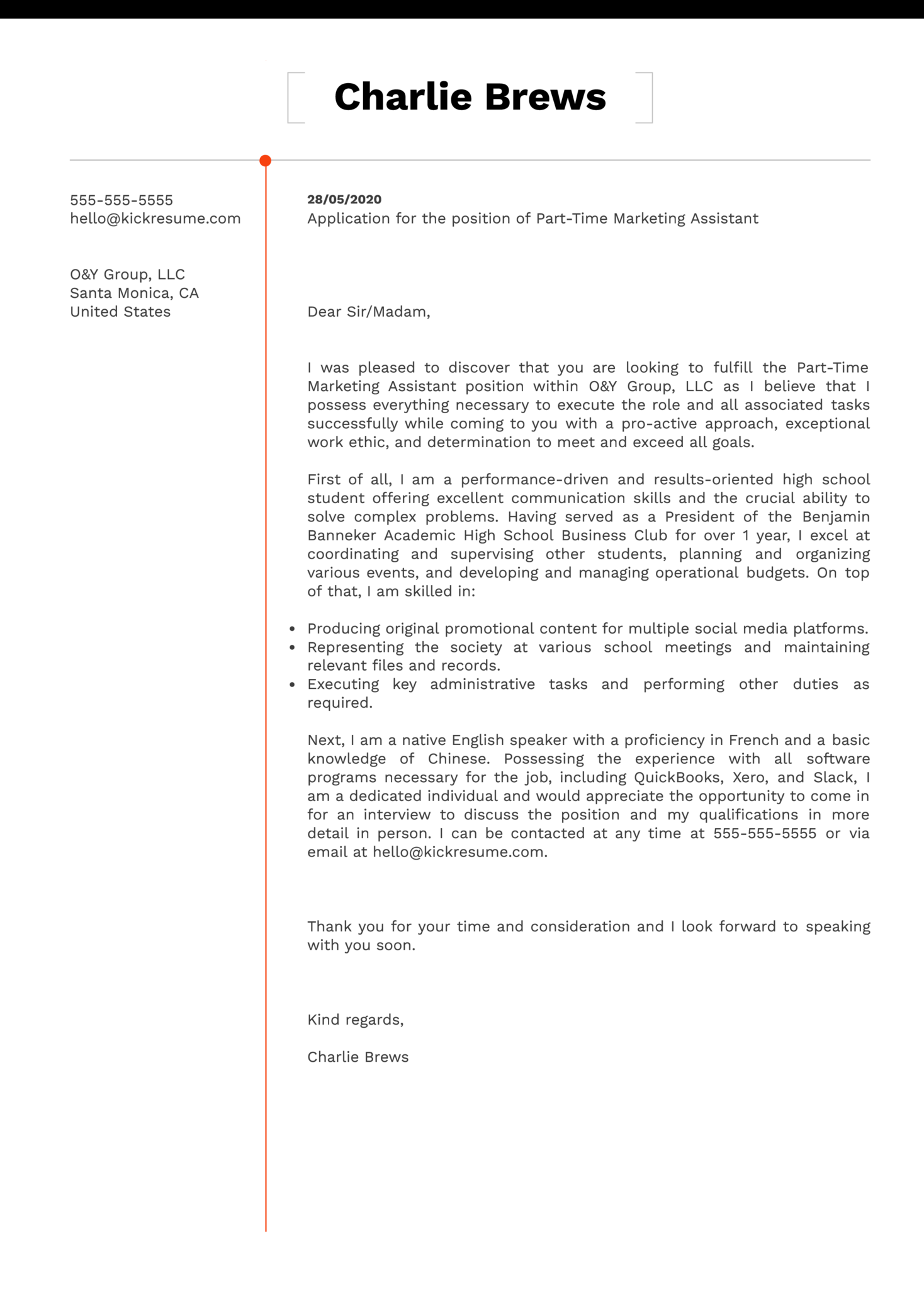 Part-Time Job Cover Letter Template