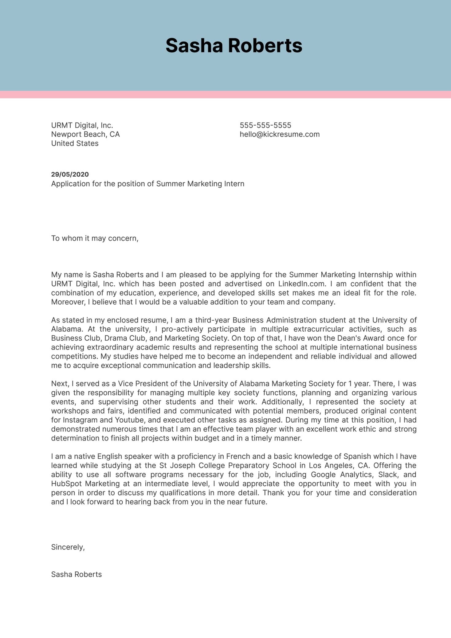 College Cover Letter Example