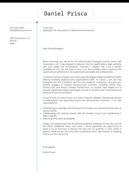 No Work Experience Cover Letter Template