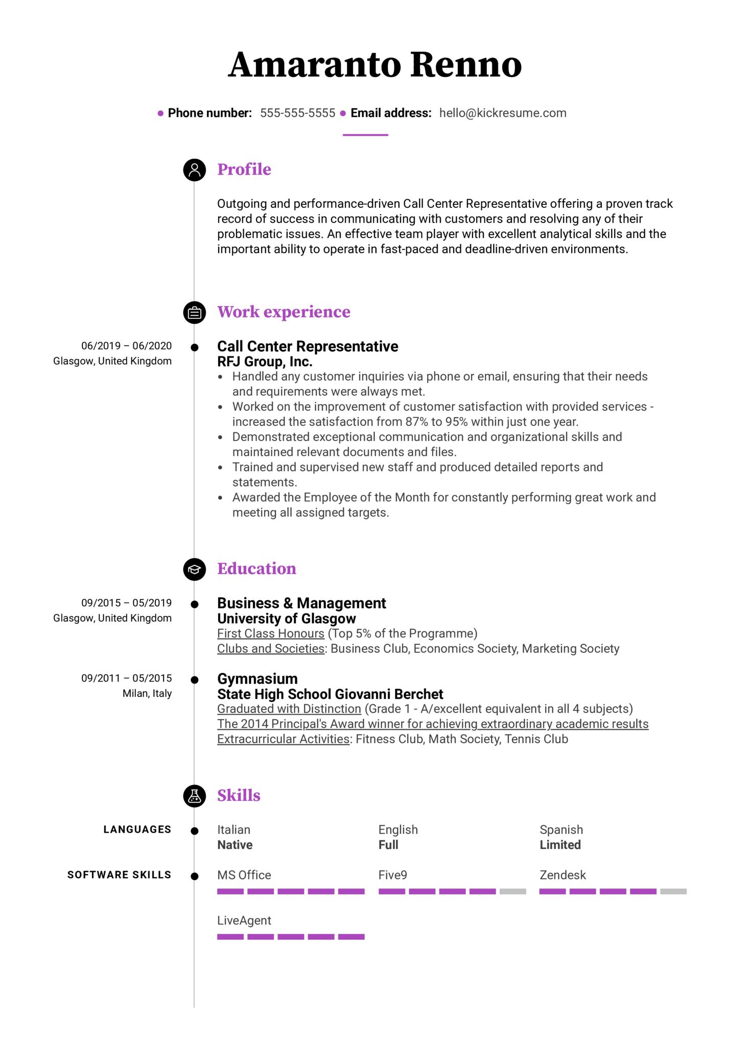 Modern Call Center Resume Sample (časť 1)
