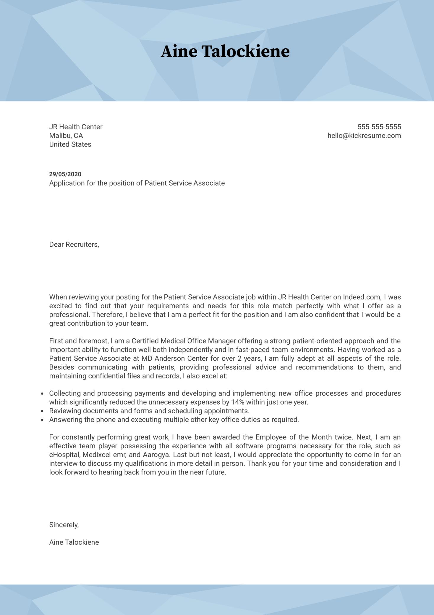 Patient Service Associate Cover Letter Example