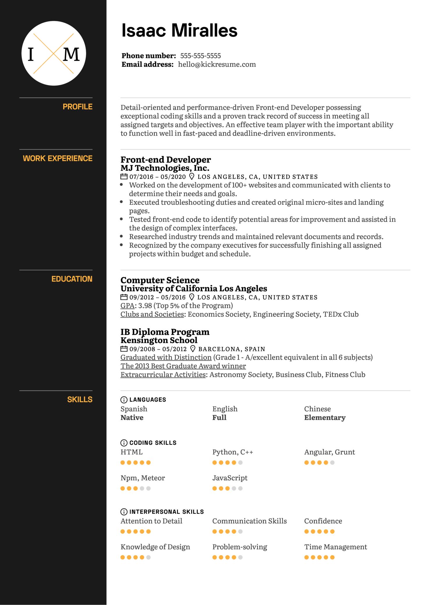 Skills on Resume Example (Part 1)