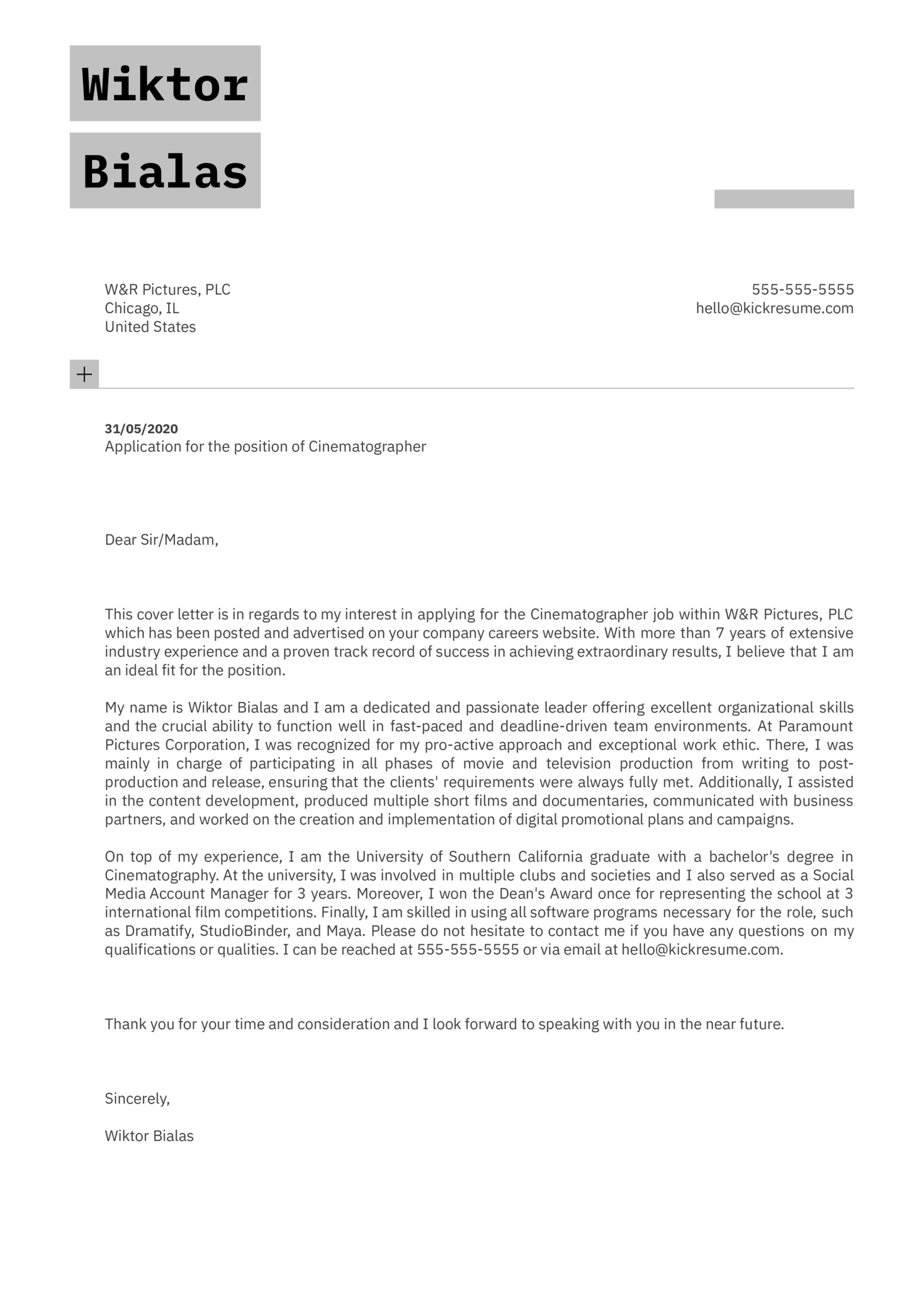 Cinematographer Cover Letter Example