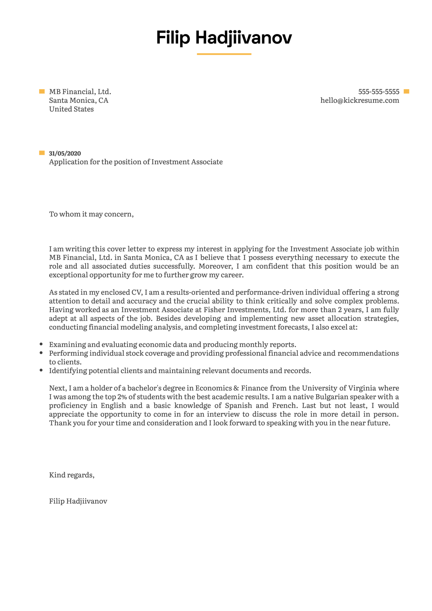 Investment Associate Cover Letter Example