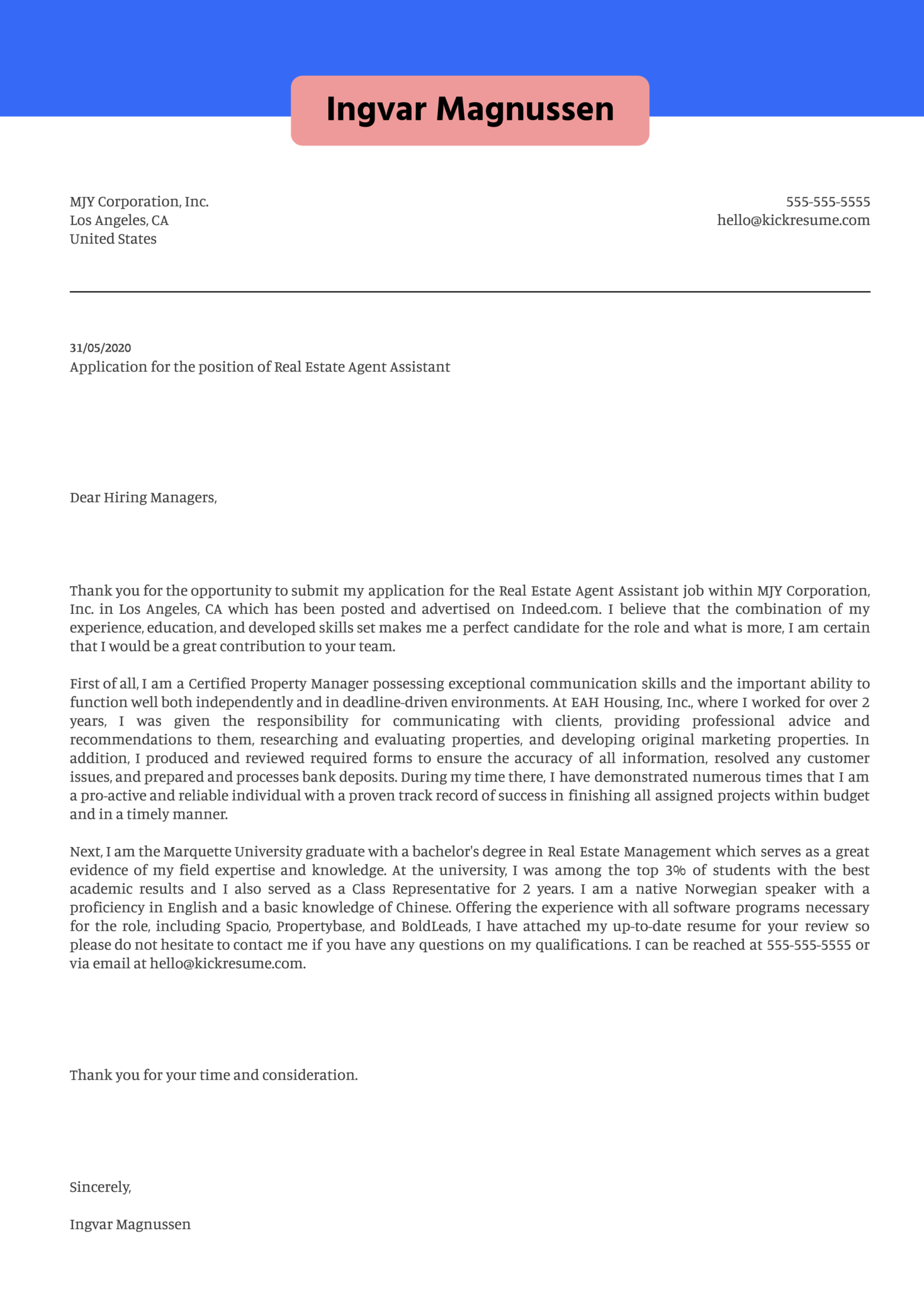 Real Estate Agent Assistant Cover Letter Example