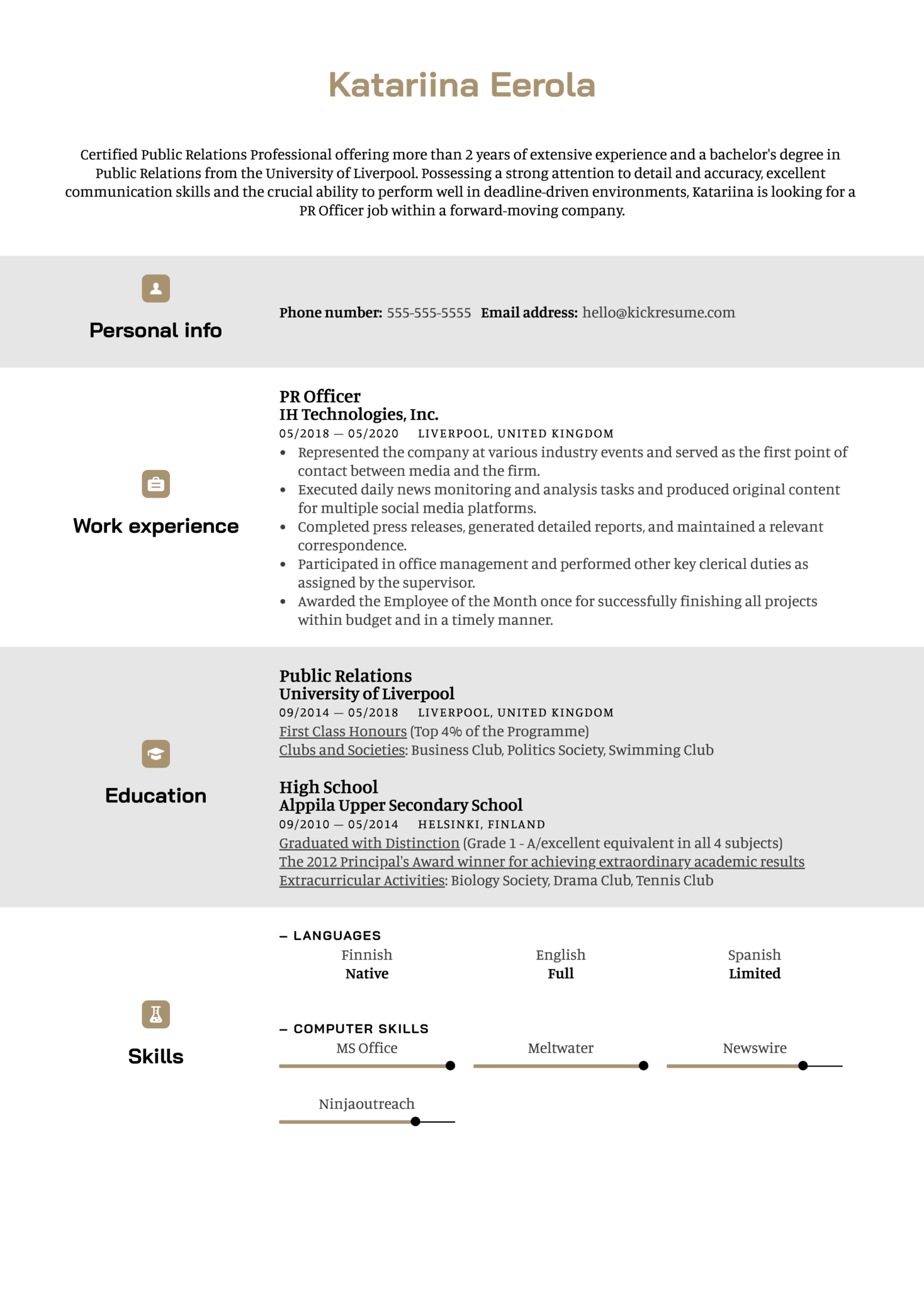 Certificates on Resume Example (parte 1)