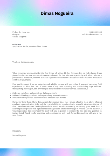 Bus Driver Cover Letter Example