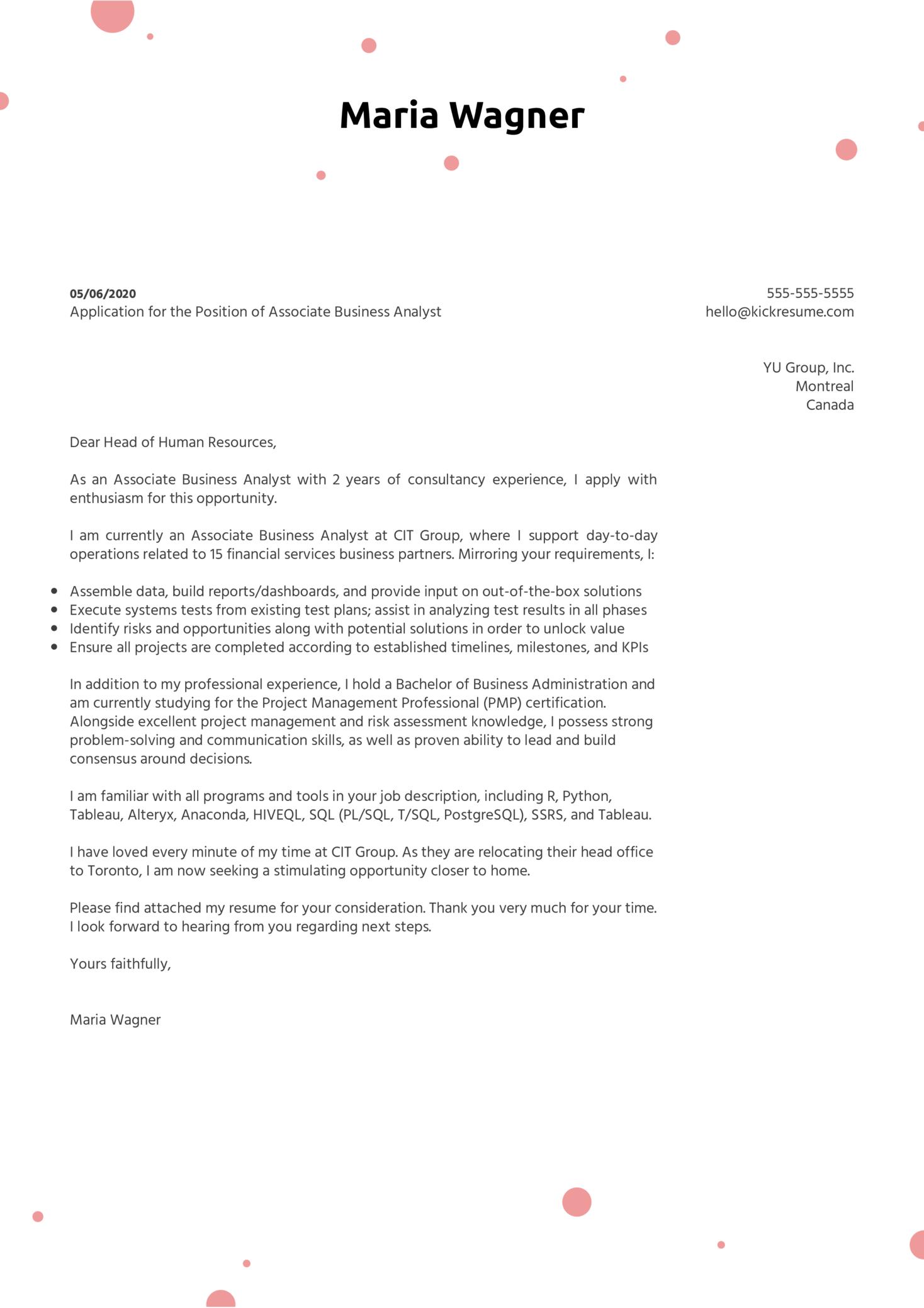 Associate Business Analyst Cover Letter Sample