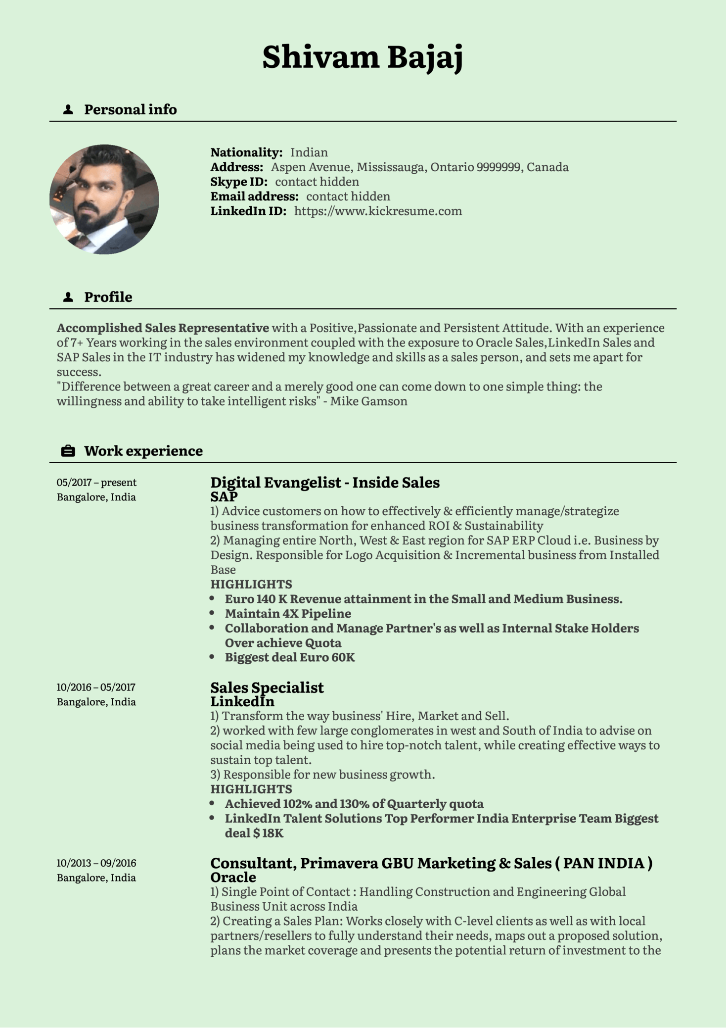 Inside Sales Manager Resume Template (parte 1)