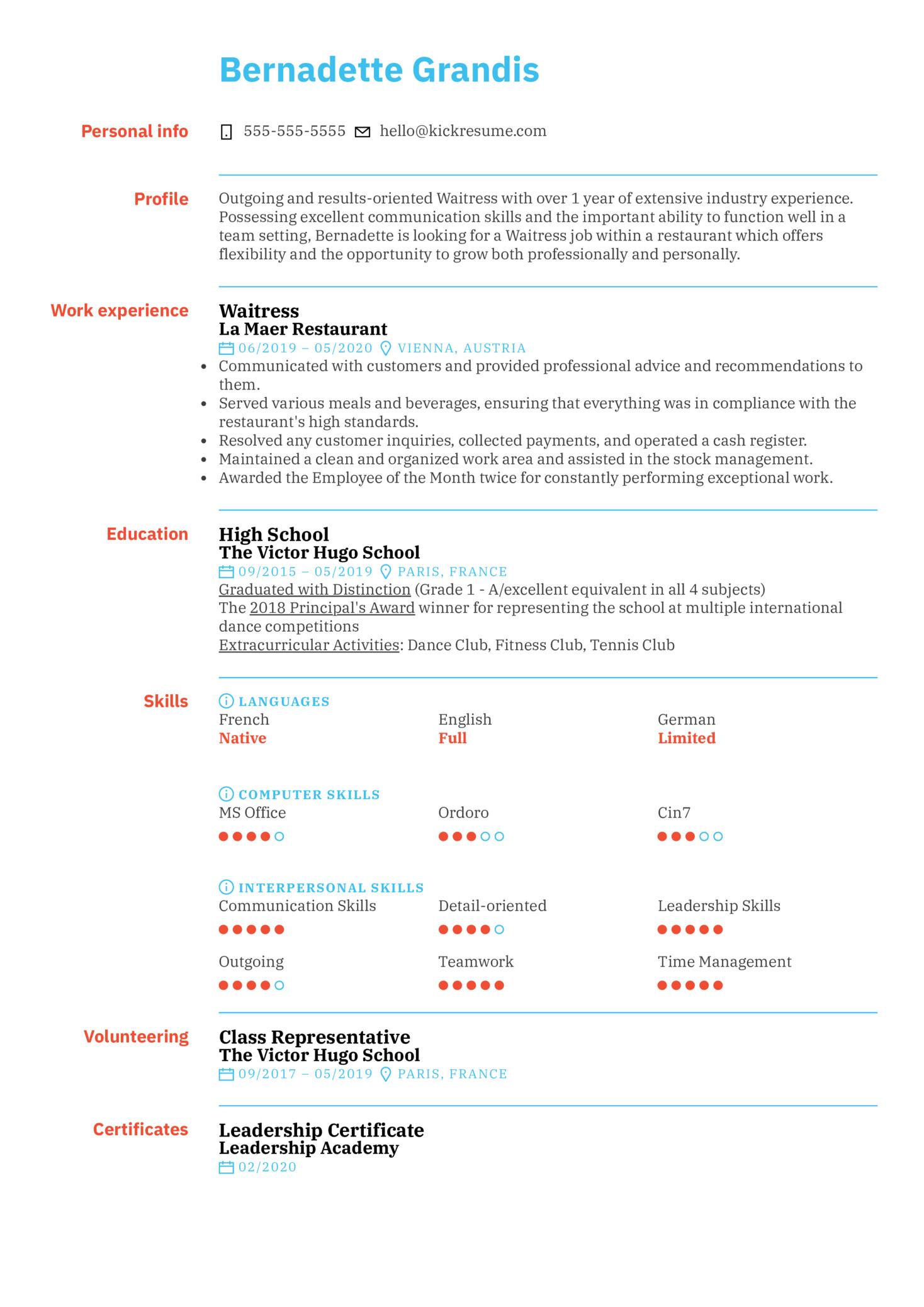 Waitress Resume Sample (parte 1)