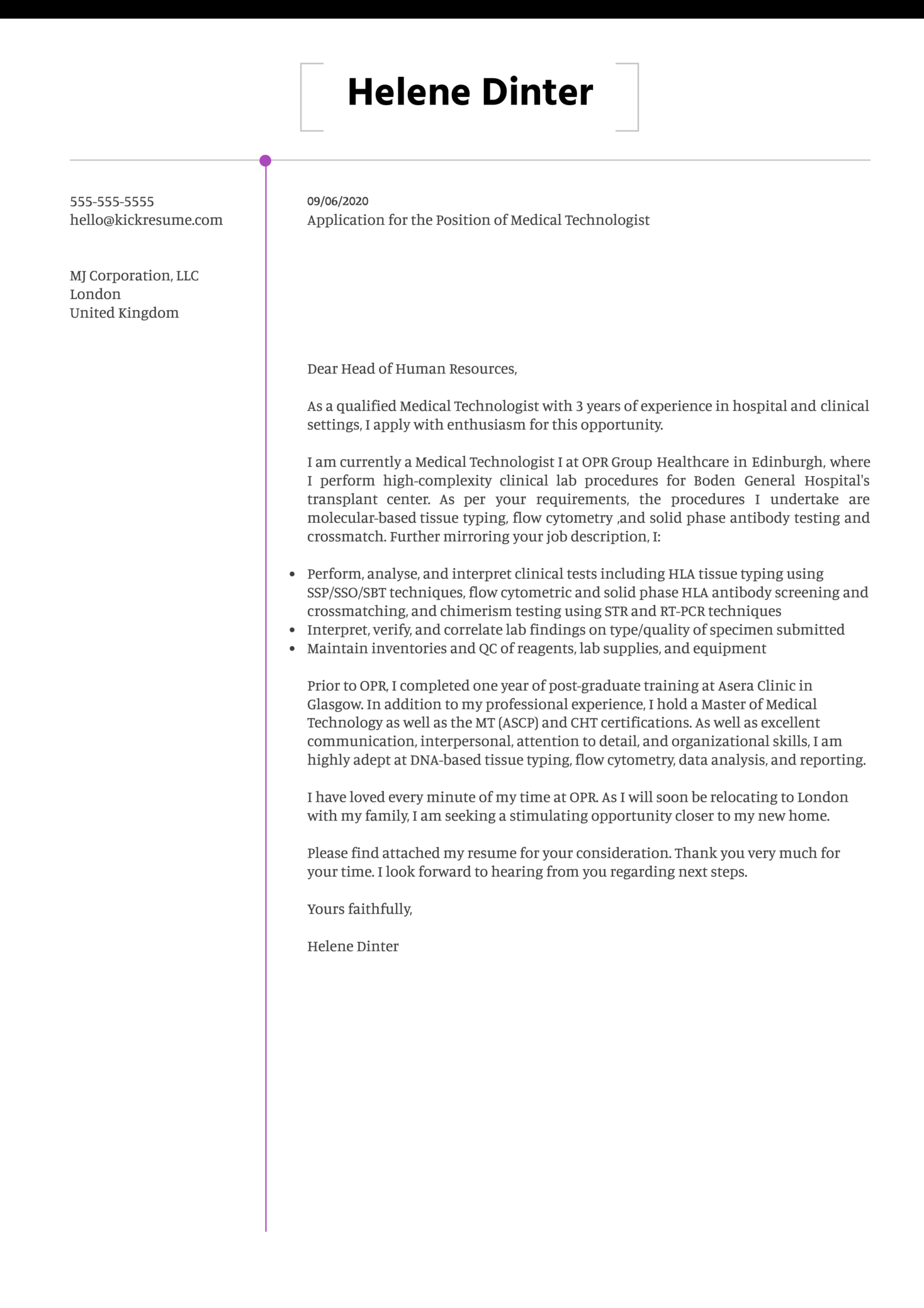 Medical Technologist Cover Letter Example