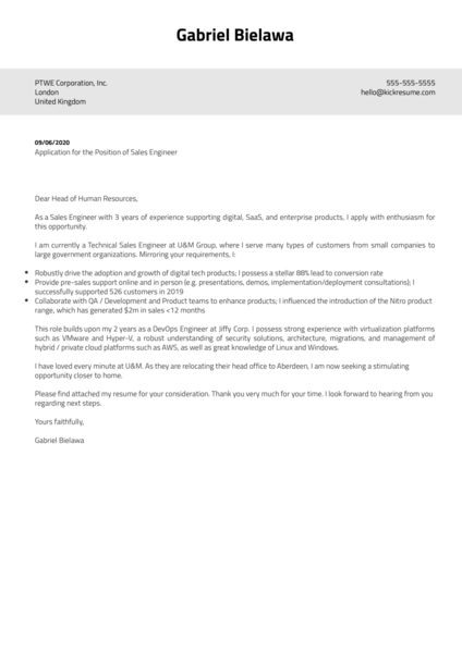 Sales Engineer Cover Letter Samples