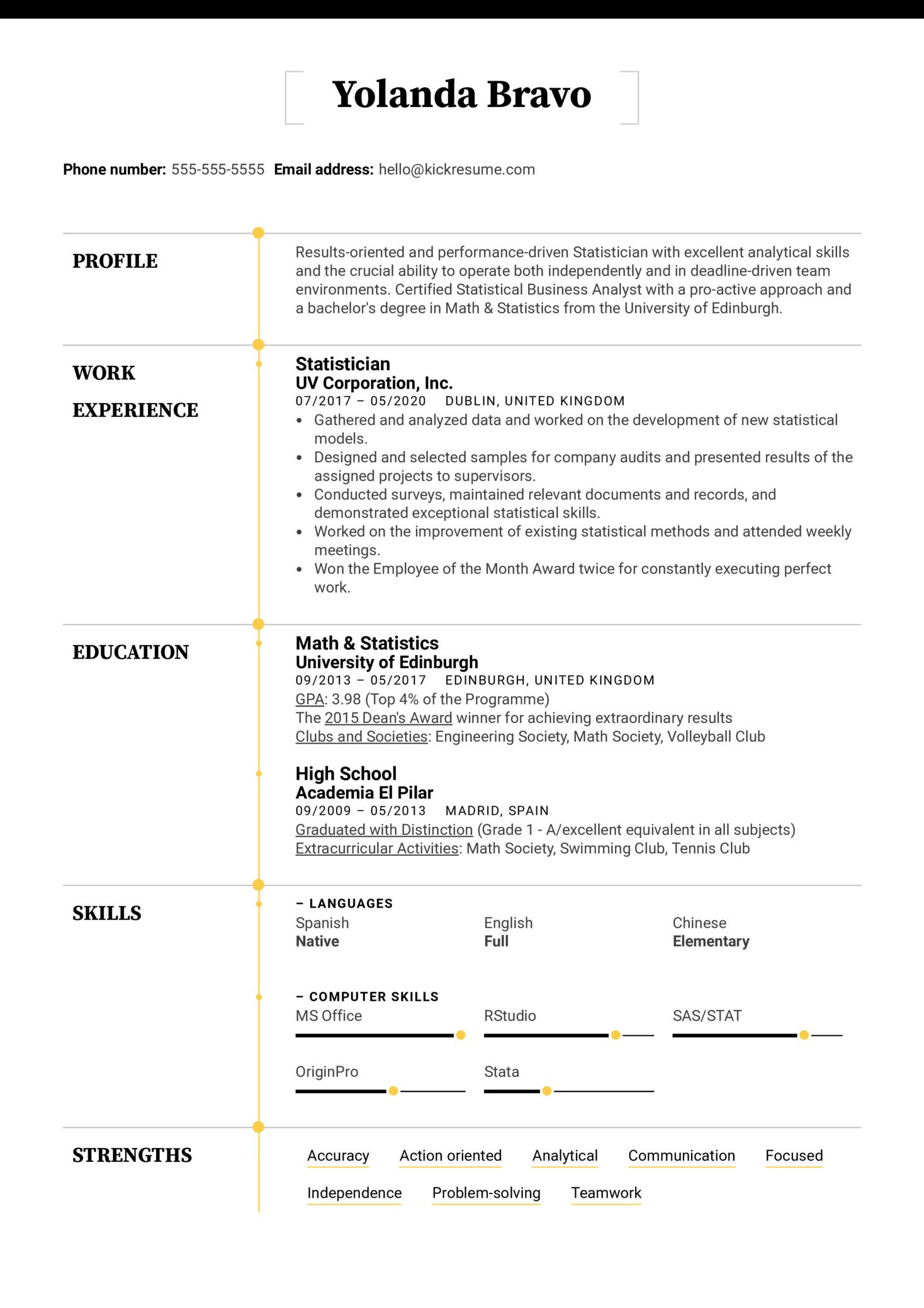 Statistician Resume Example (parte 1)