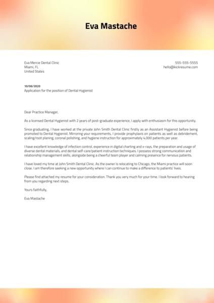 Dental Hygienist Cover Letter Template