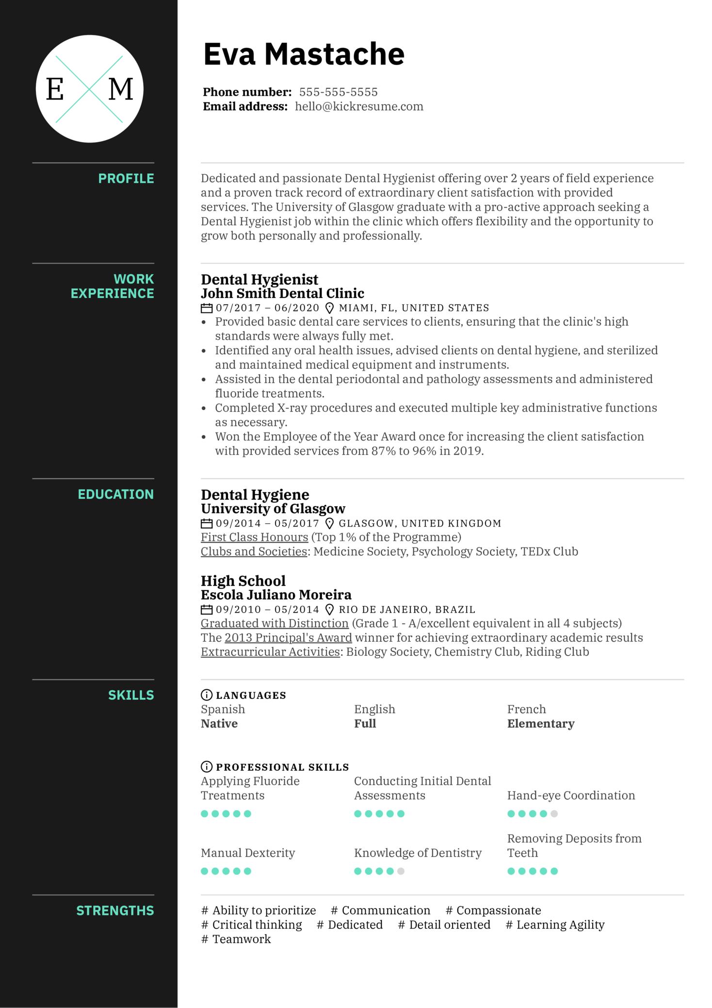 Dental Hygienist Resume Example (časť 1)