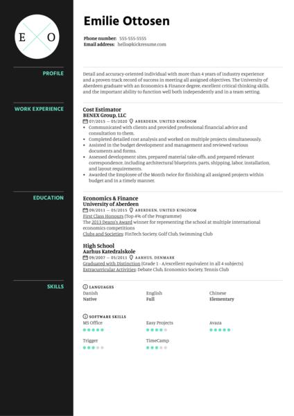 Cost Estimator Resume Sample