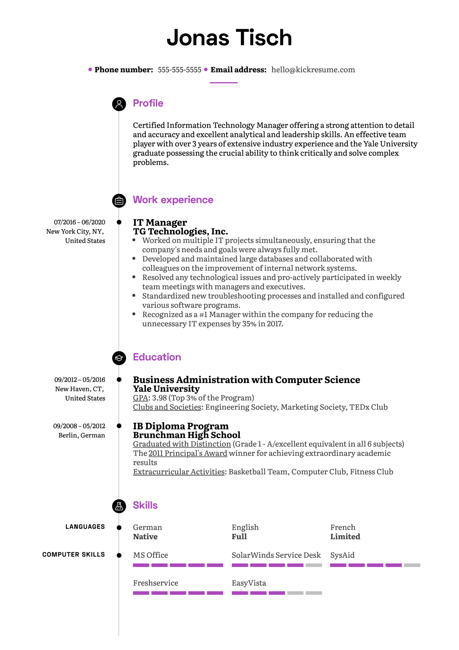 IT Manager Resume Example (Part 1)