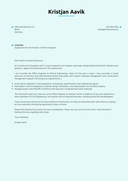 Office Engineer Cover Letter Sample