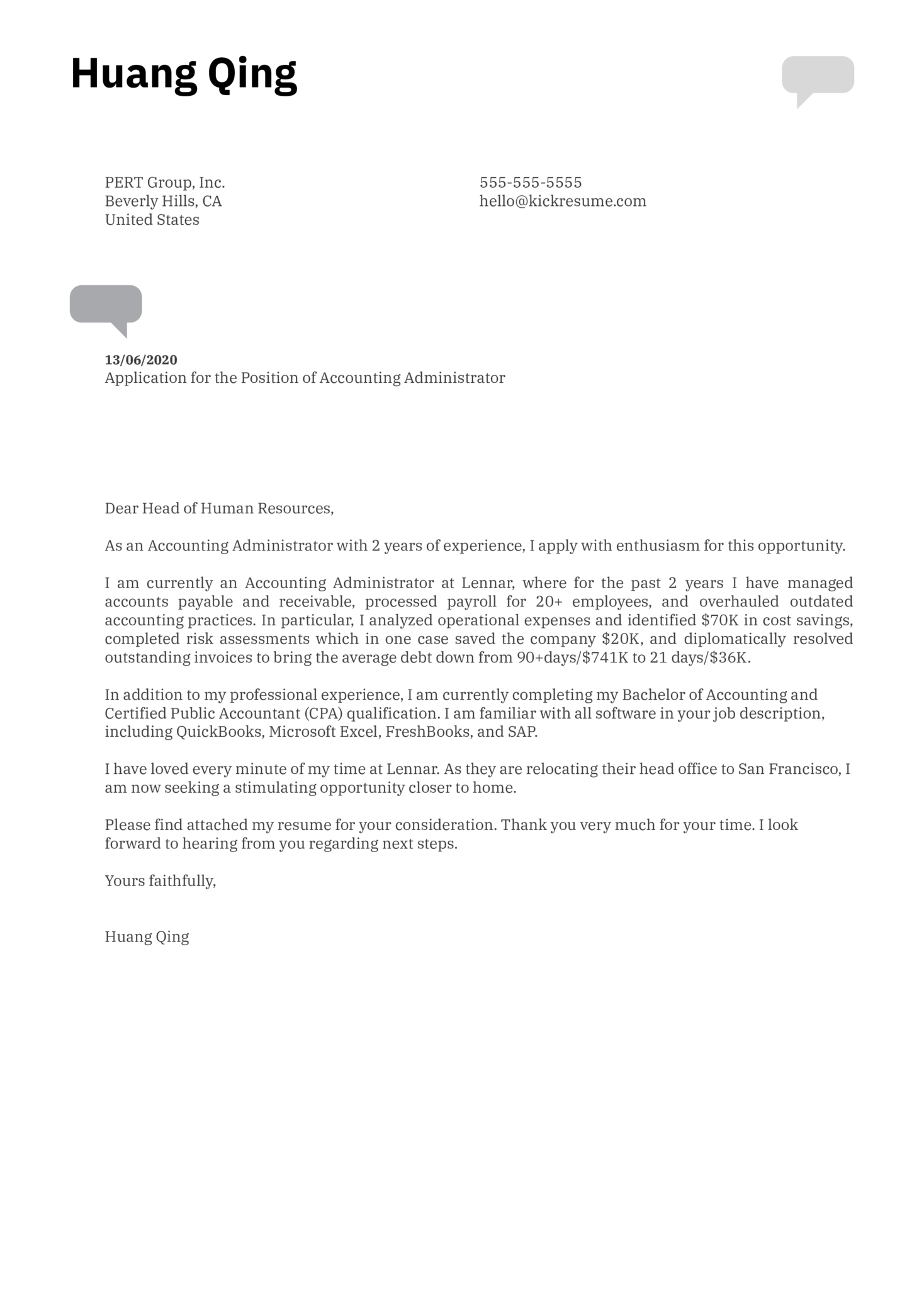 Accounting Administrator Cover Letter Example