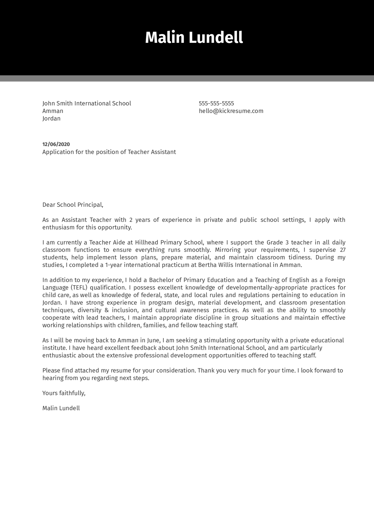 Teacher Assistant Cover Letter Example