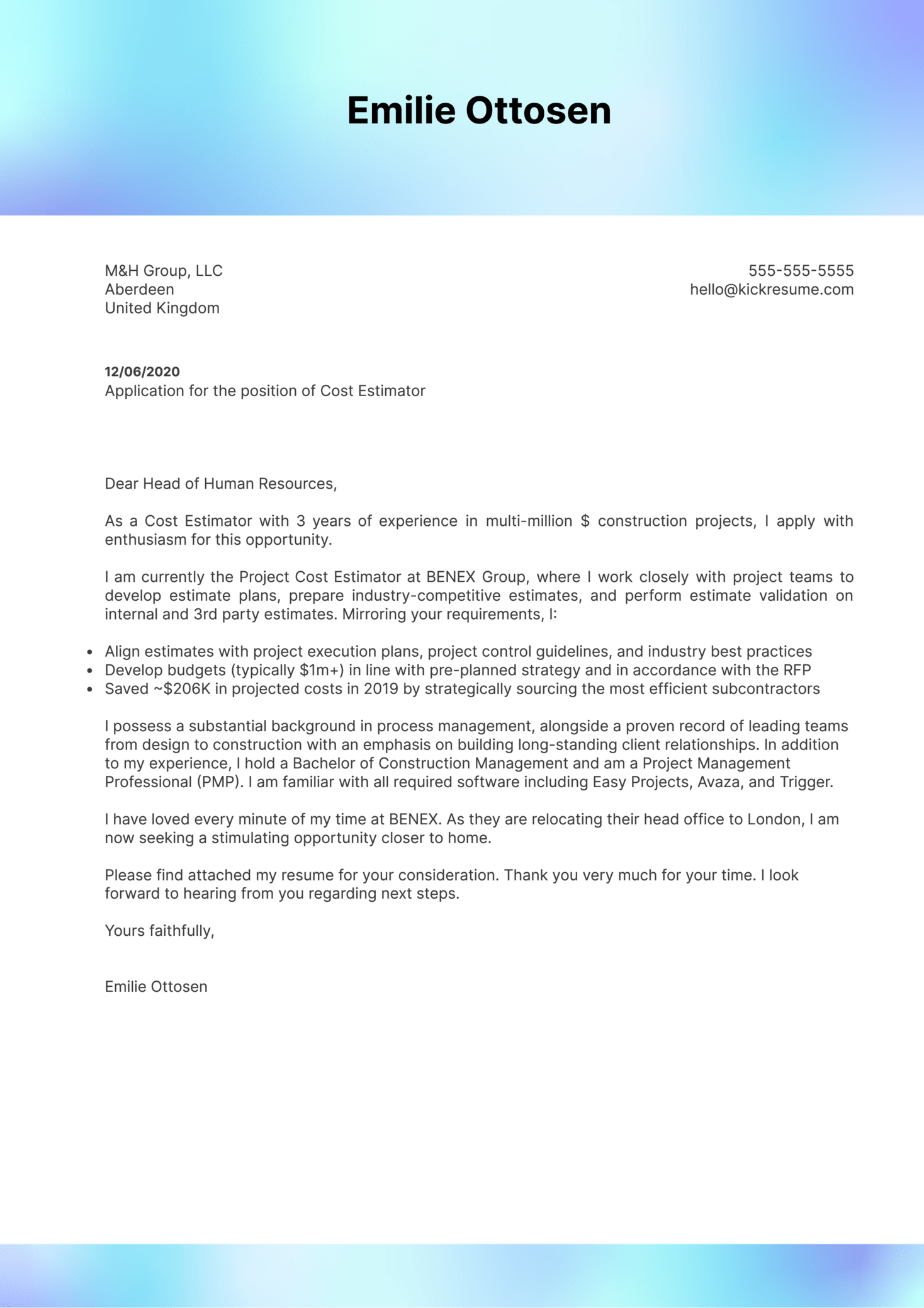 Cost Estimator Cover Letter Example