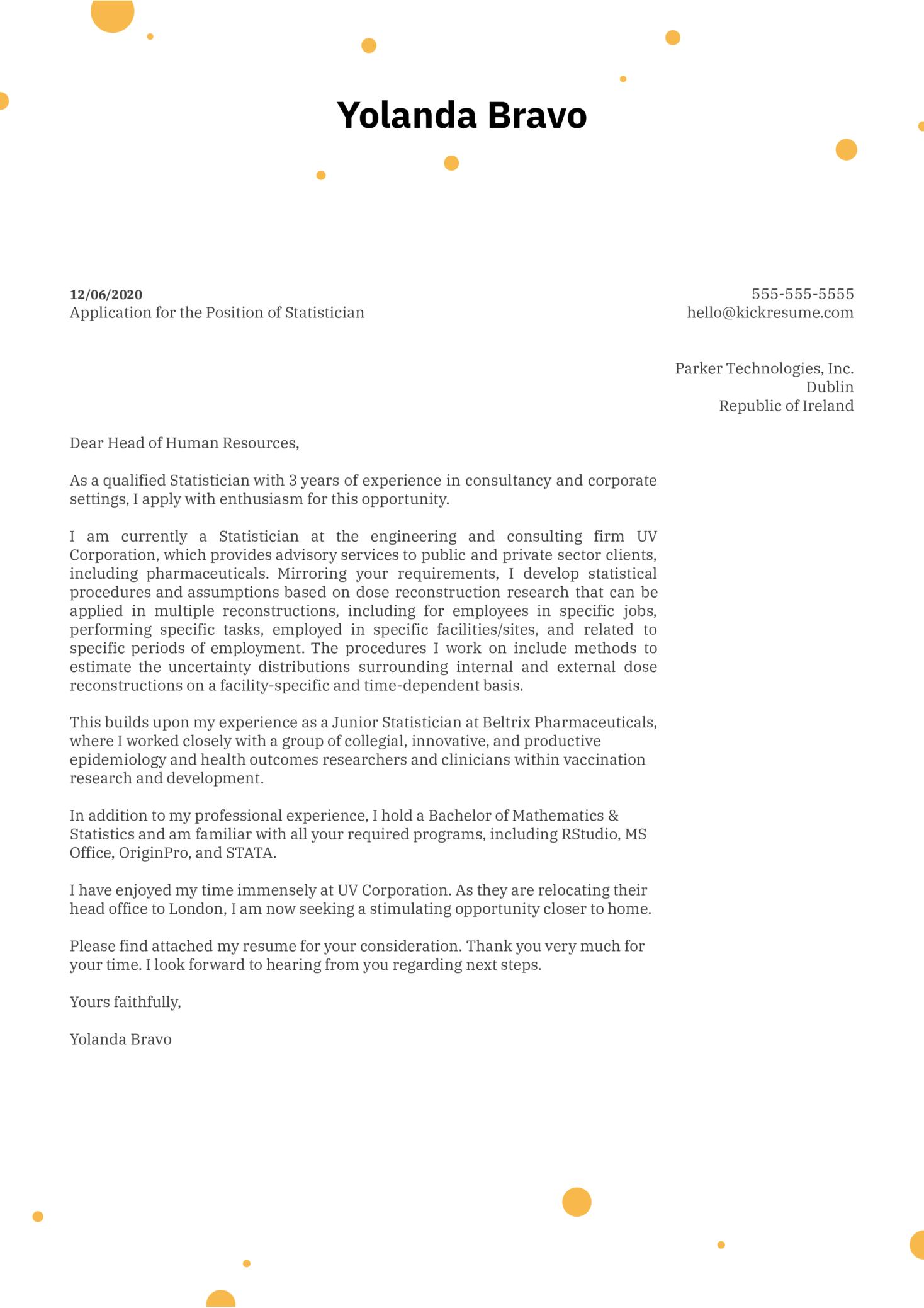 Statistician Cover Letter Sample