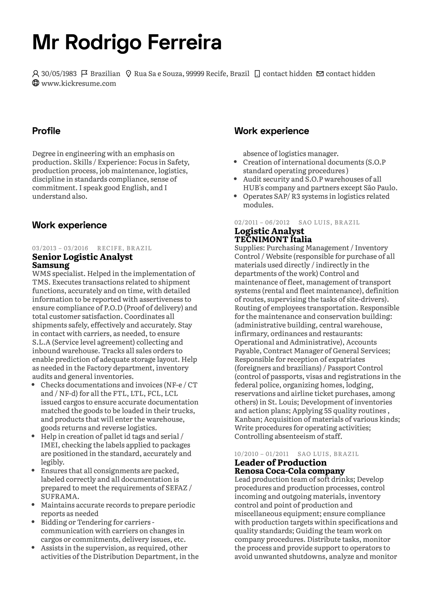 Leader of Production at Samsung Resume Sample (Part 1)