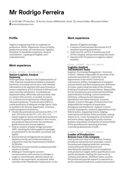 Leader of Production at Samsung Resume Sample