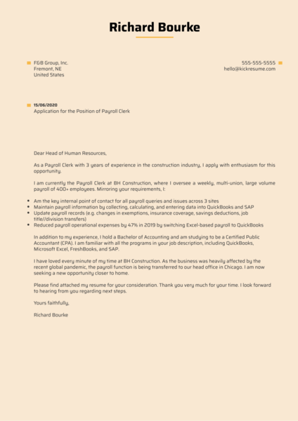 Payroll Clerk Cover Letter Sample