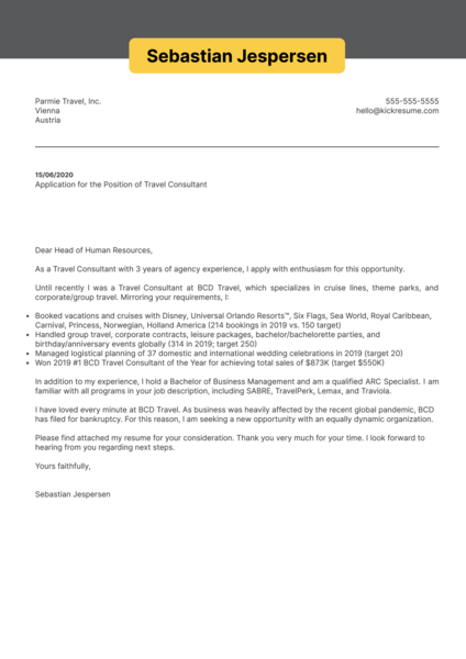 Travel Consultant Cover Letter Example