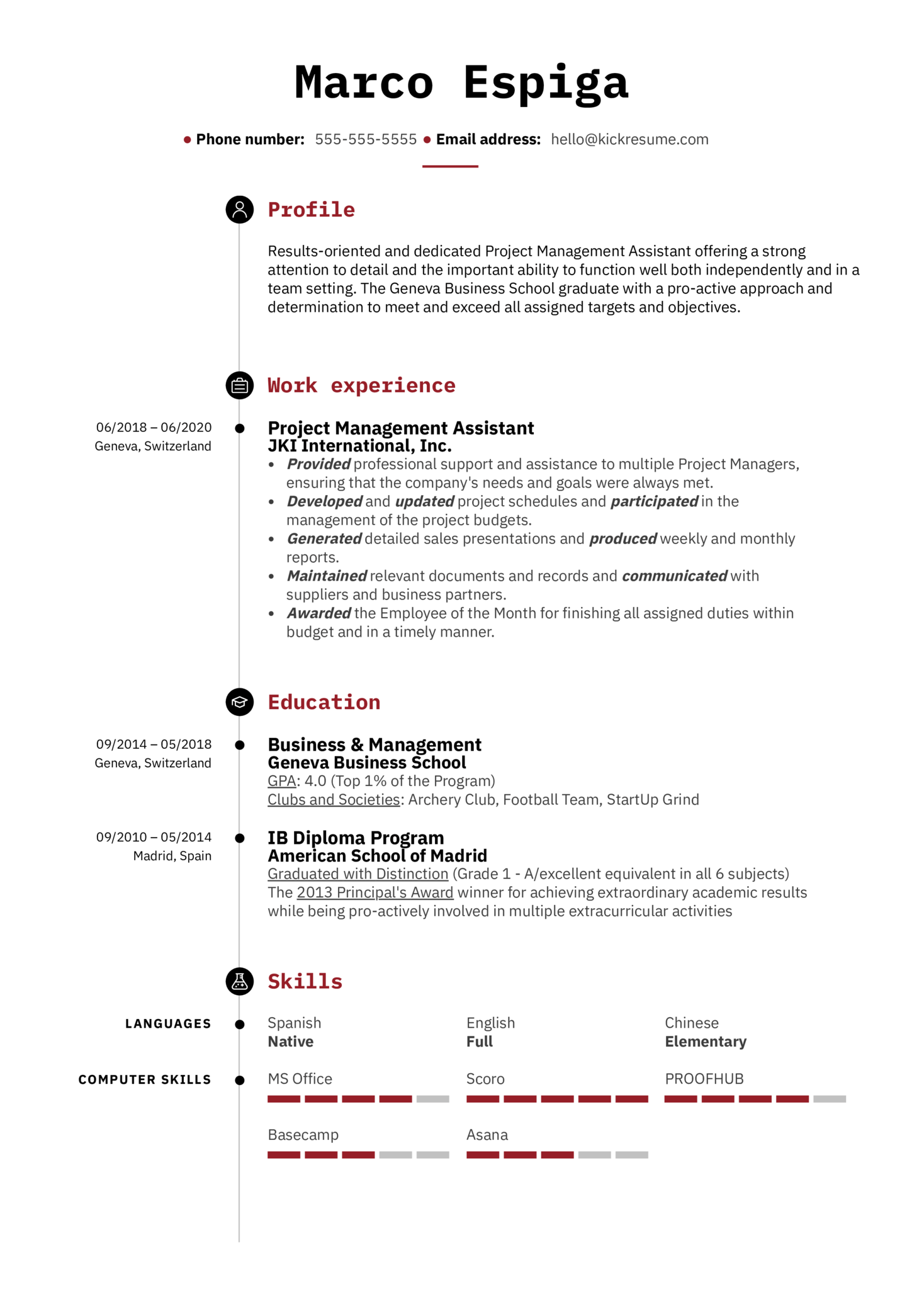 Action Words for Resume Example (Part 1)