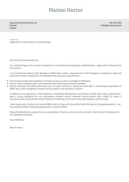 Hotel Manager Cover Letter Sample