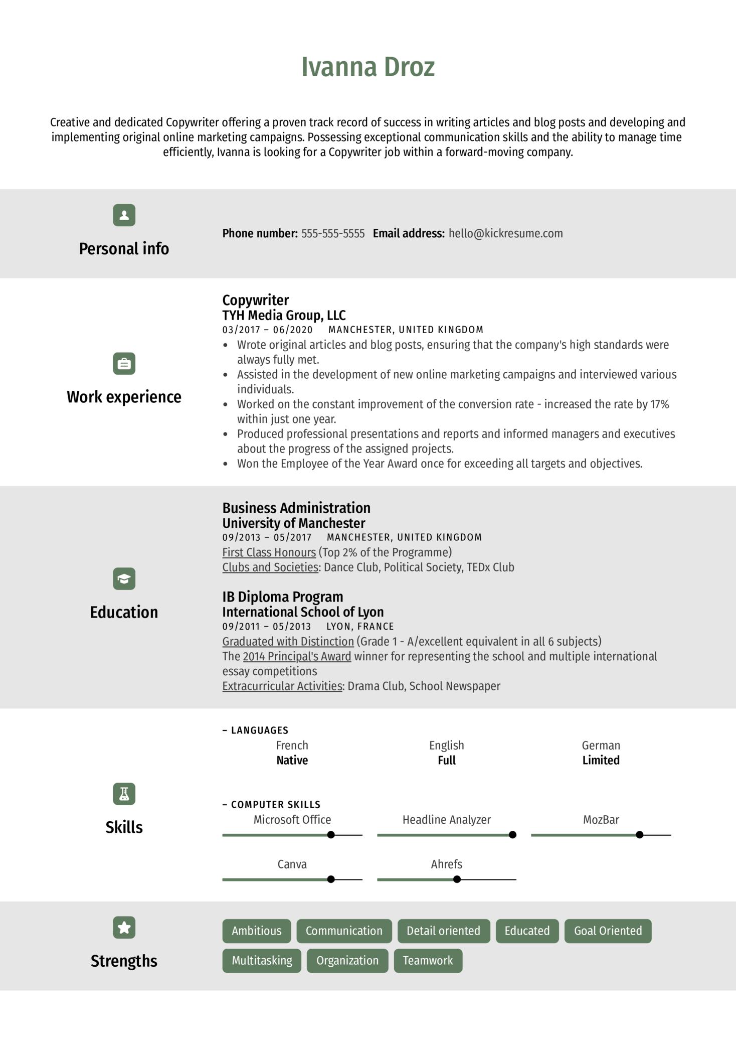 Creative Copywriter Resume Template (Part 1)