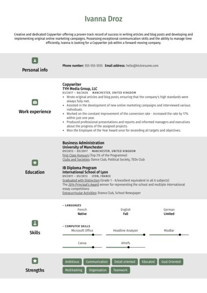 Creative Copywriter Resume Template