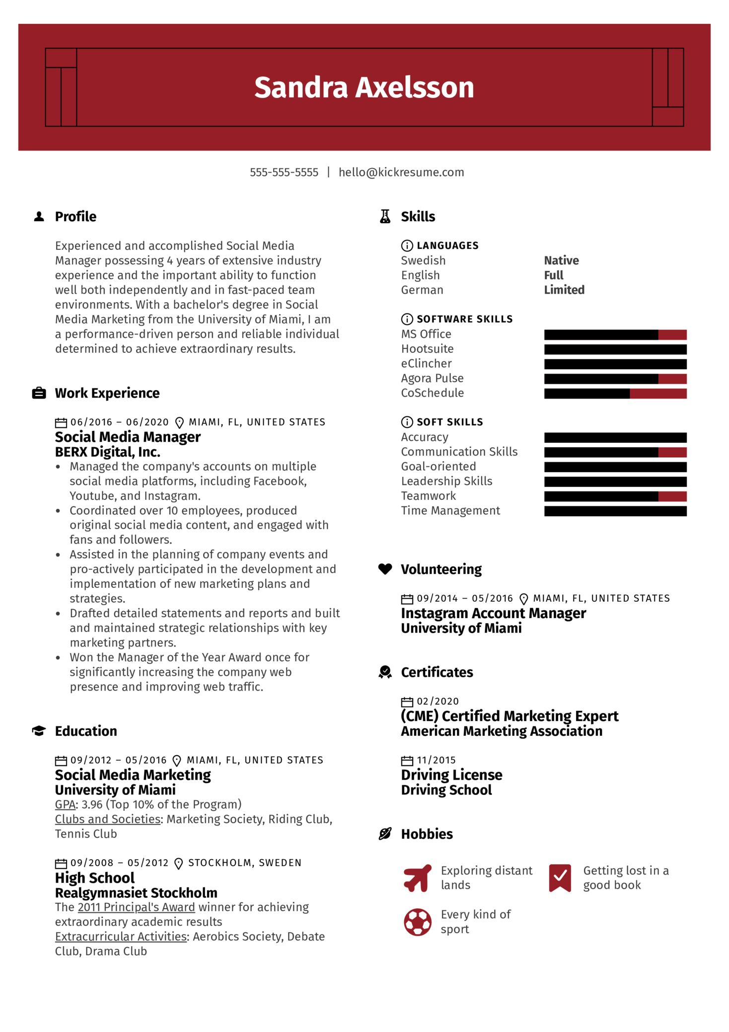 Professional Social Media Manager Resume Sample