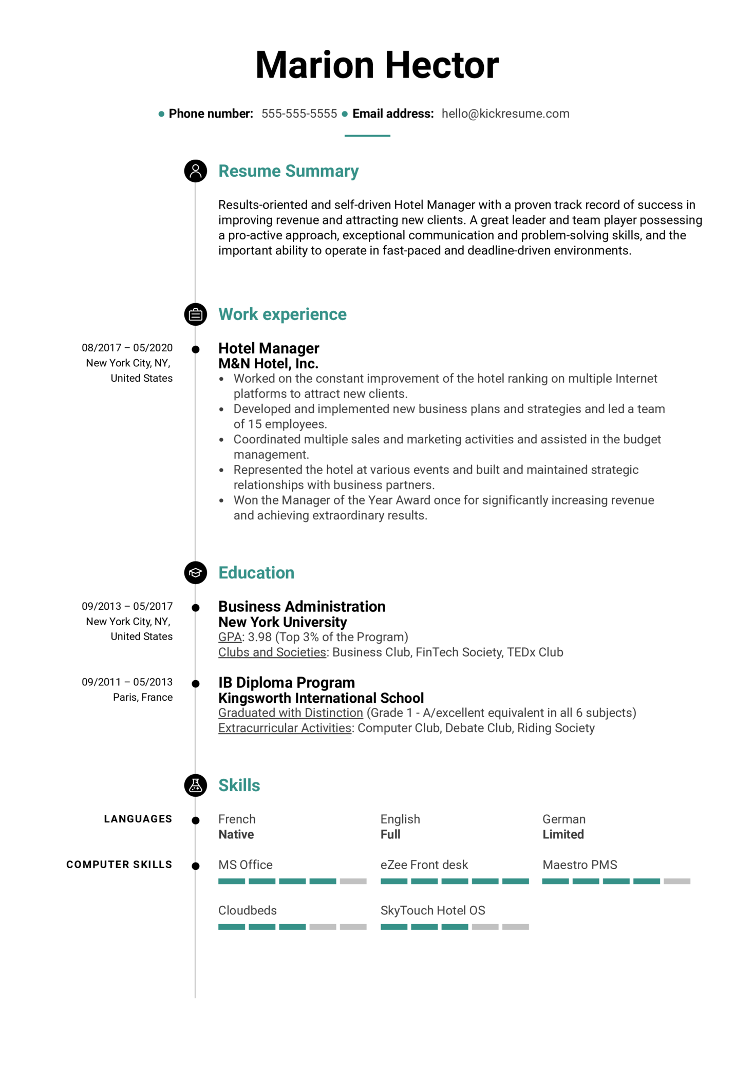 Free Hotel Manager Resume Sample (Part 1)