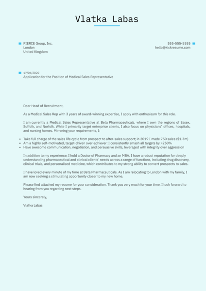 Medical Sales Representative Cover Letter Example