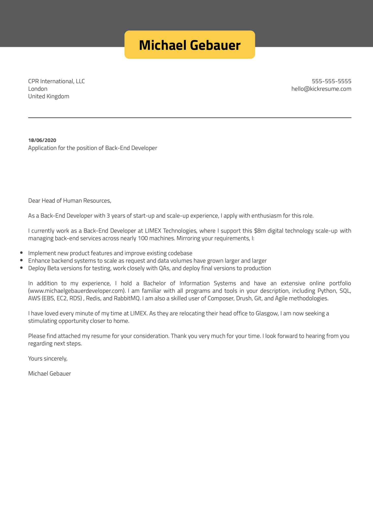 Back-end Developer Cover Letter Example