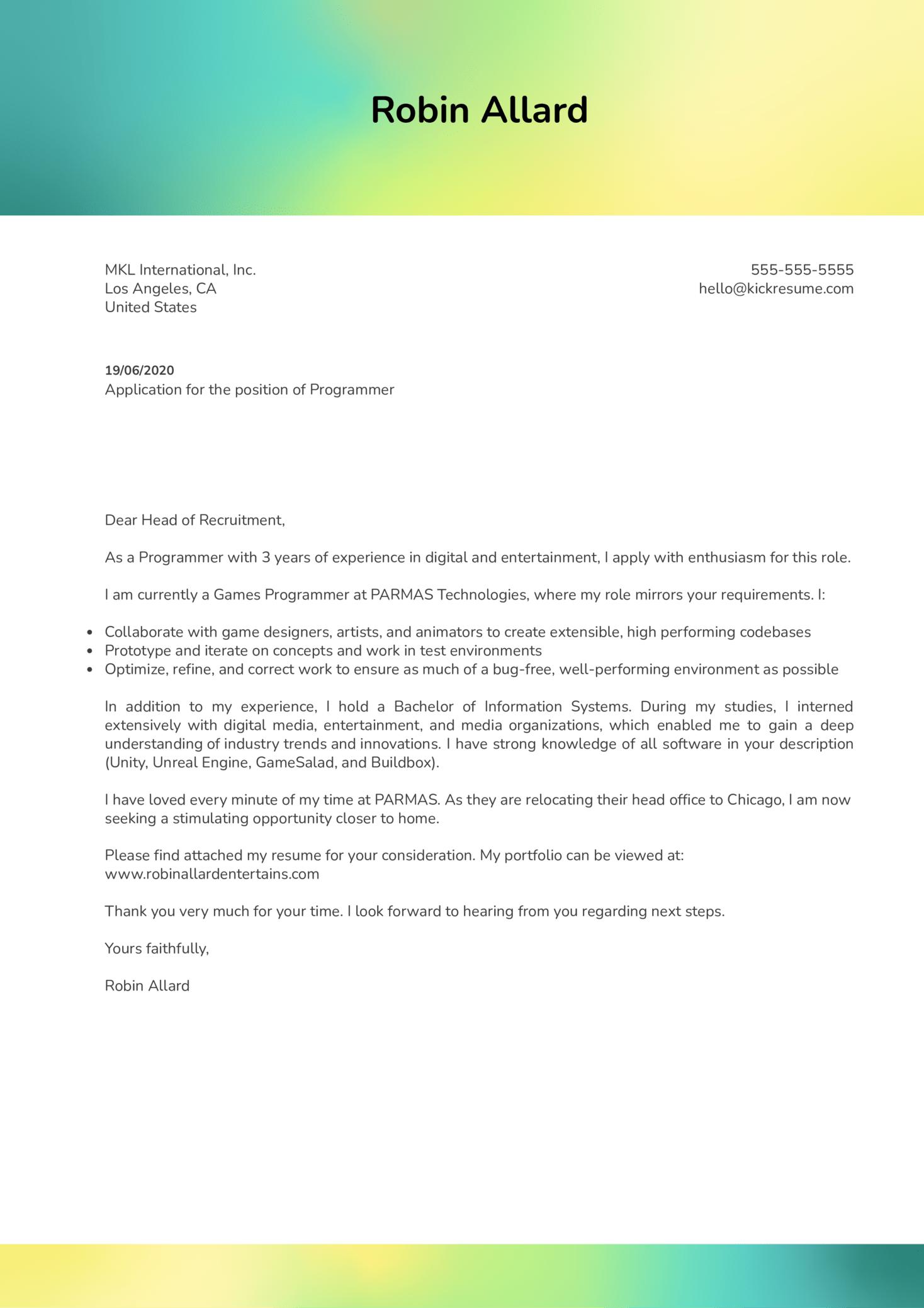 Programmer Cover Letter Sample