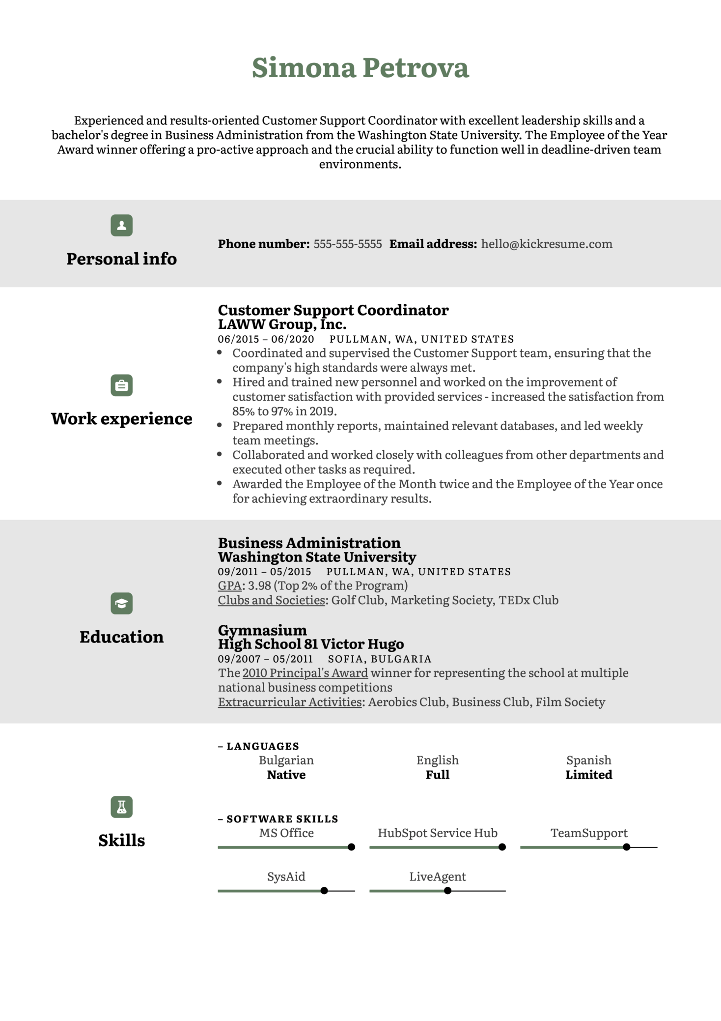 Free Customer Support CV Example (Part 1)