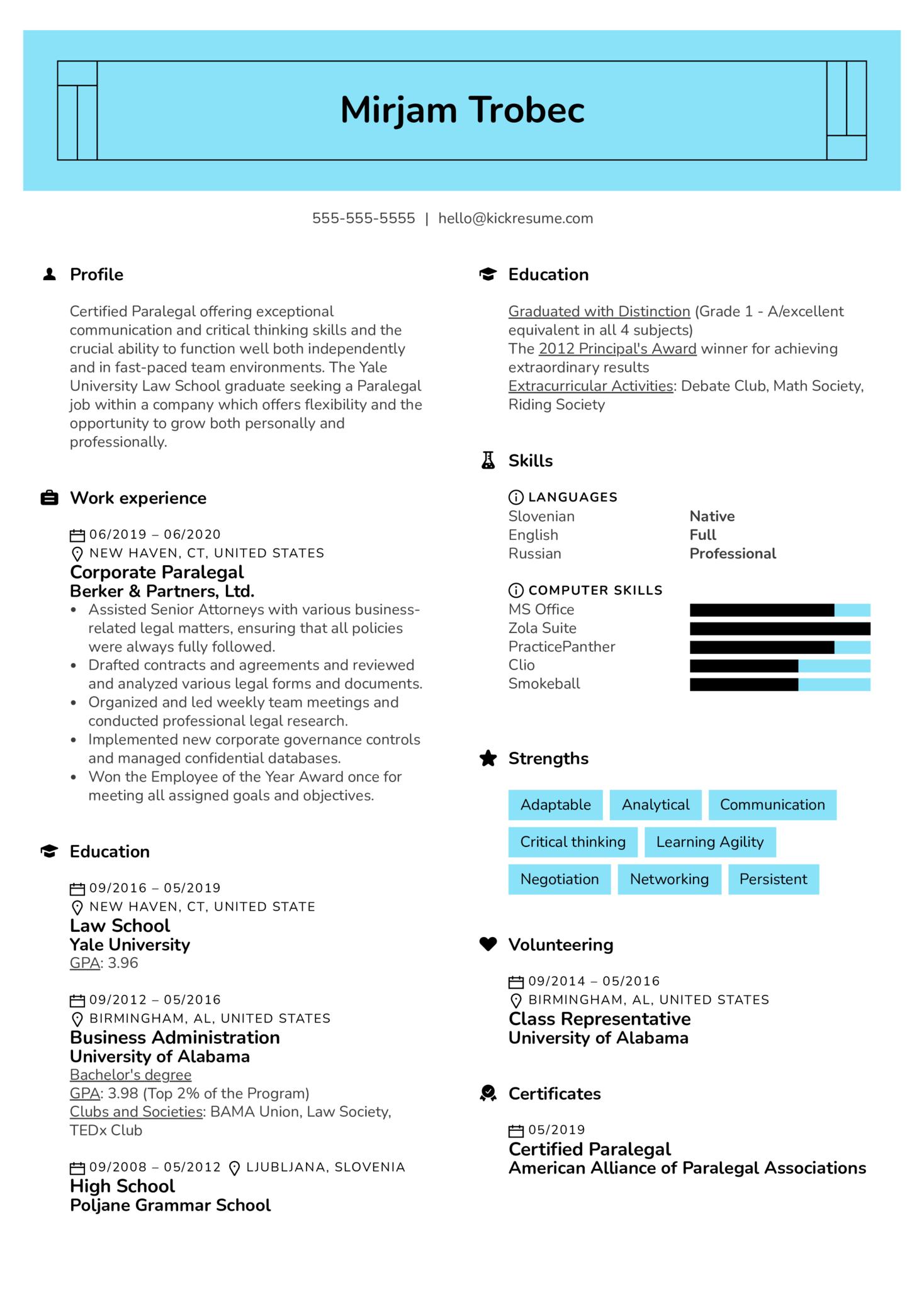 Paralegal Resume Sample (Teil 1)