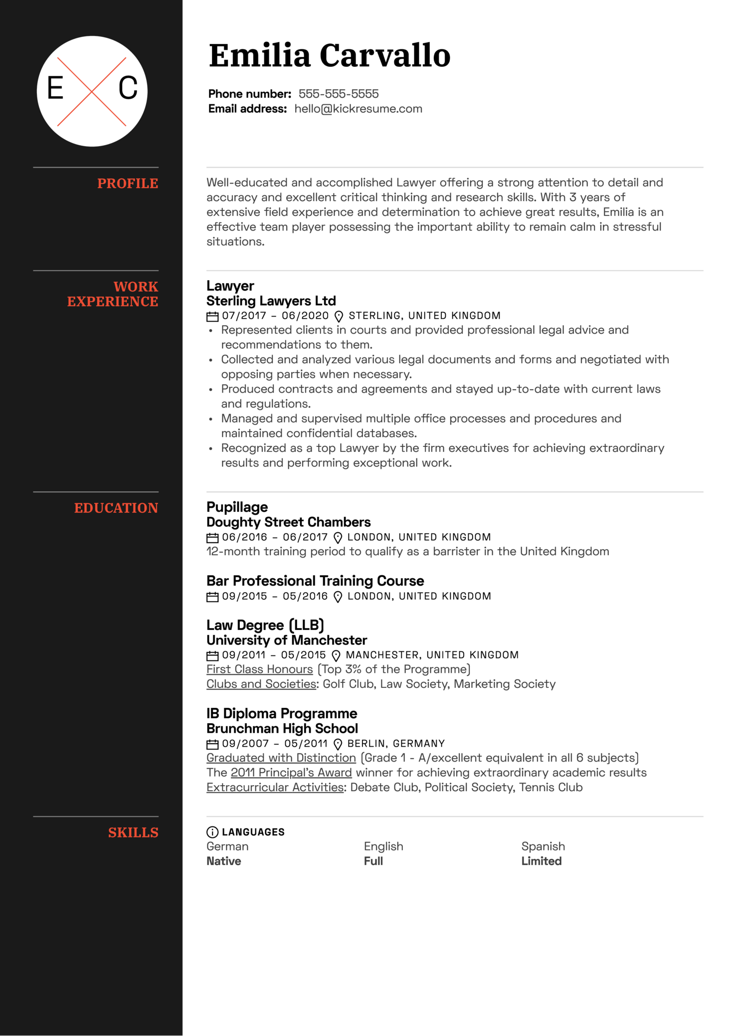 Professional Lawyer Resume Example (Part 1)