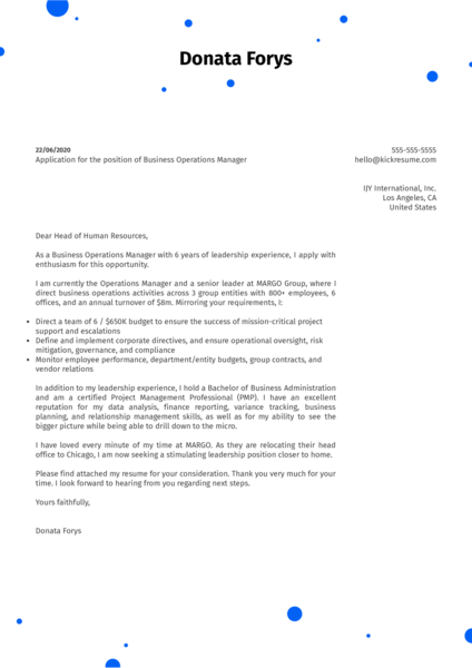 Business Operations Manager Cover Letter Example